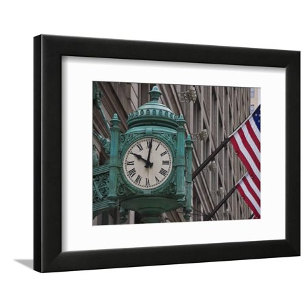 Marshall Field Building Clock, Now Macy's Department Store, Chicago, Illinois, USA Framed Print Wall Art By Amanda Hall Chicago Bulls Framed Wall