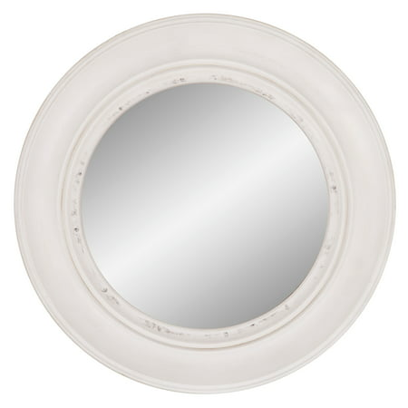 "Patton Wall Decor 30"" Distressed White Round Port Hole Wall Accent Mirror"