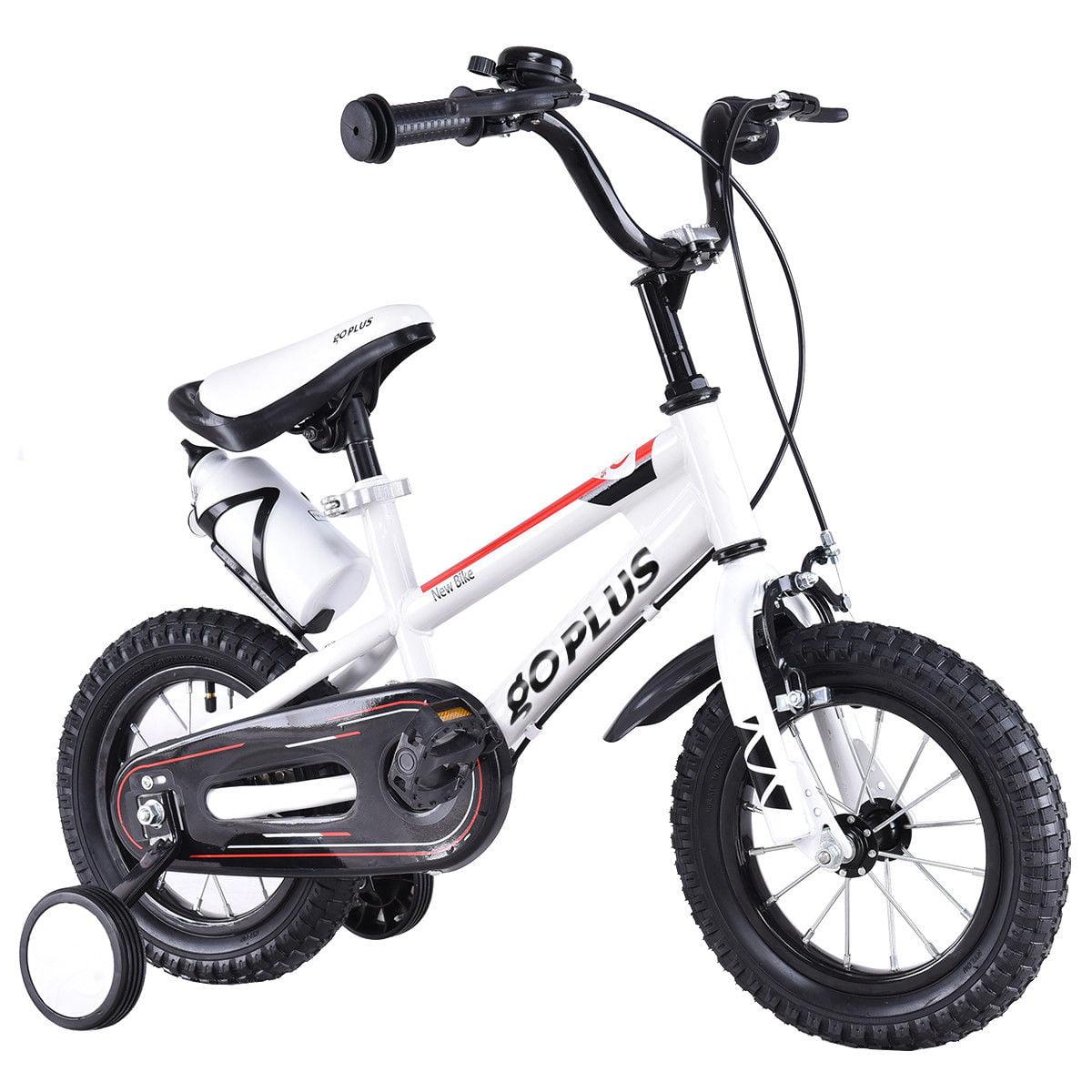 Goplus 12'' Freestyle Kids Bike Bicycle Children Boys & Girls w Training Wheels White by Costway