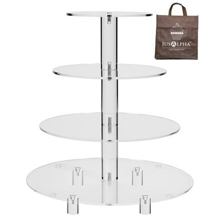 Crystal Cake Platter - Jusalpha® 4 Tier Acrylic Glass Round Cake Stand-cupcake Stand- Dessert Stand-tea Party Serving Platter for Wedding Party(4R) (With Rod Feet)