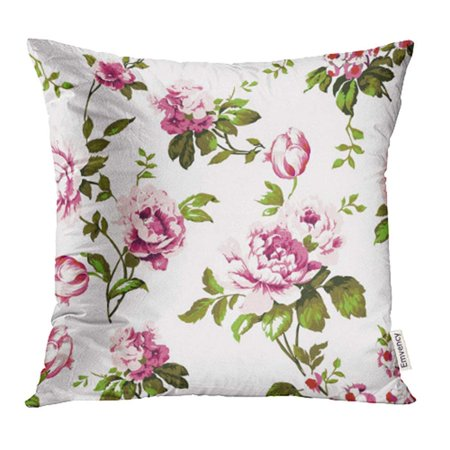 ARHOME Shabby Chic Vintage Roses Tulips and Forget Me Nots Classic Chintz Floral Pillow Case Pillow Cover 18x18 inch Throw Pillow - English Floral Chintz