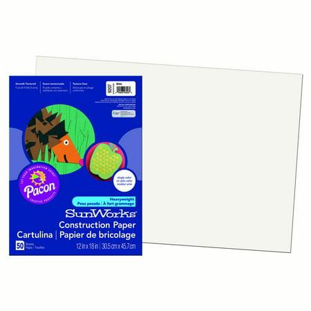 "Pacon® SunWorks® Construction Paper, 12"" x 18"", White - 50 Sheets per pack, 10 packs"