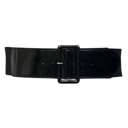 eVogues Plus Size Wide Patent Leather Fashion Belt Black
