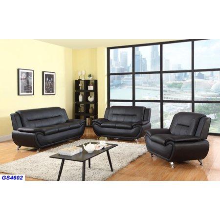 UDesign Furnishing_Black Faux Leather 3PC Living Room  Set_Sofa/Loveseat/Chair