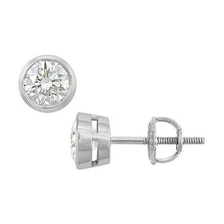 14K White Gold Bezel Set Round Diamond Stud Earrings 1 CT. TW.