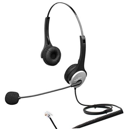 3.5 Mm Headset Adapter Microphone - 4Call K502CM Dual Ear Call Center Telephone RJ Headset with Noise Canceling Microphone for Plantronics M10 M22 Vista Adapter and AT&T CallMaster V VI & Cisco Unified Office IP Phones 7931G 7975