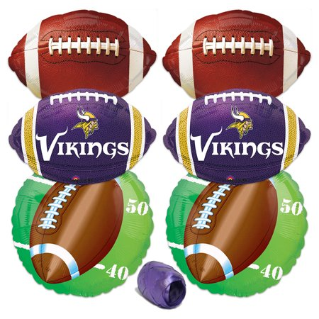 Minnesota Vikings NFL Football Party Mylar 7pc Balloon Pack, Purple Yellow White (Minnesota Vikings Party Pack)