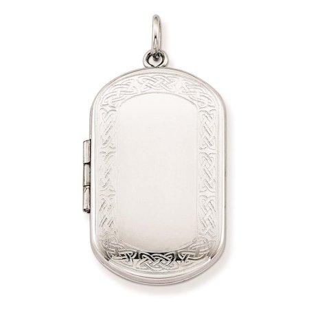 Sterling Silver Celtic Pattern - Celtic Border Rectangular Patterned and Polished Locket Sterling Silver
