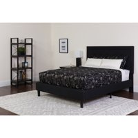 Flash Furniture Roxbury Tufted Upholstered Queen Size Platform Bed in Black Fabric