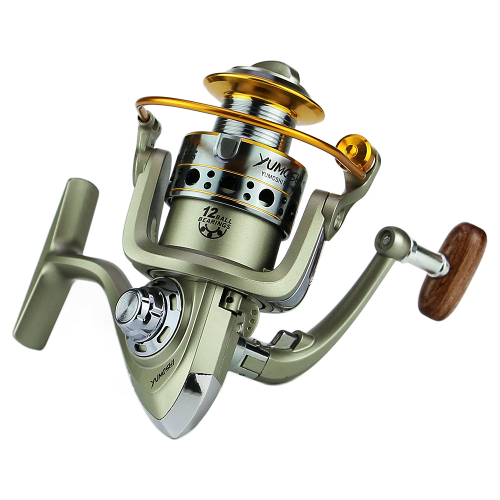 12 Ball Bearings Spinning Fishing Reel Smooth and Lightweight Aluminum Alloy Fishing Reel Left and Right Interchangeable Collapsible Rocking Handle