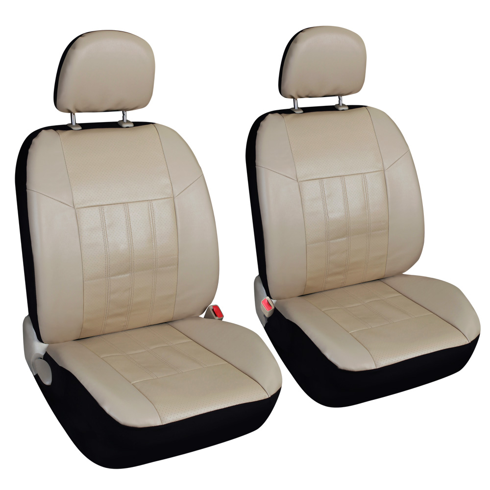 Leader Accessories Pair of Faux Leather Front Car Seat Covers with Airbag for Truck SUV Universal Fit Auto Seat Protector