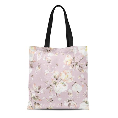 SIDONKU Canvas Tote Bag Colorful Watercolor of Light Flowers V Vintage Pastel Pink Durable Reusable Shopping Shoulder Grocery Bag ()