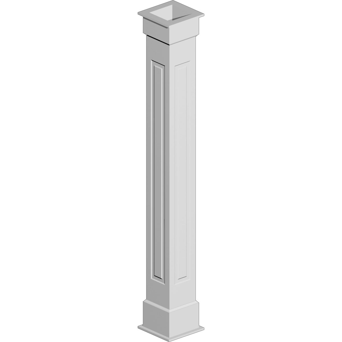 """8"""" Width x 108"""" Height Non-Tapered Raised Panel Fypon Column Wrap"""