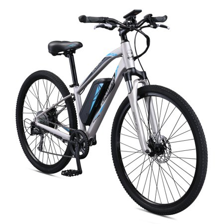 - Schwinn Sycamore 350 watt hub-drive, mountain/hybrid, electric bicycle, 8 speeds, Womens size small