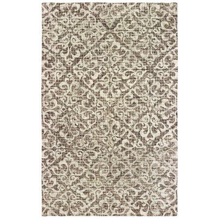 Sphinx Tallavera Area Rugs - 55607 Contemporary Brown Scrolls Petals Curves Angled Rug