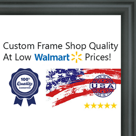 14x36 - 14 x 36 Rounded Black Solid Wood Frame with UV Framer\'s ...