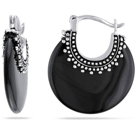 Onyx Sterling Silver Hoop Statement - Onyx Sterling Silver Hook Earrings