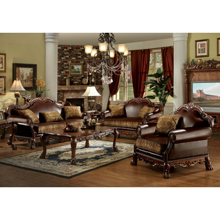 ACME Dresden Sofa with 3 Pillows in Brown PU & Chenille in Cherry -