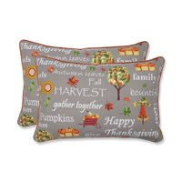 Set of 2 Gray and Orange Thanksgiving Inspirational Indoor/Outdoor Decorative Oversized Lumbar Pillow 24.5""