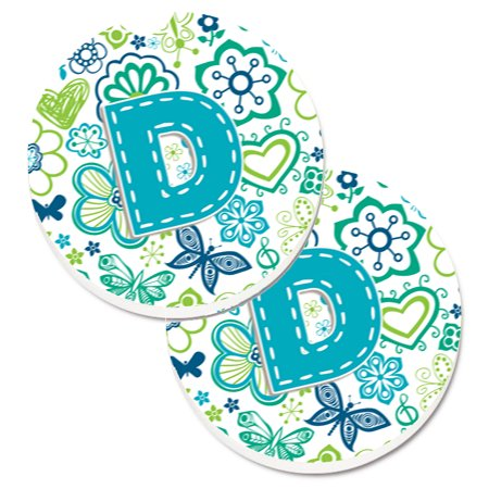 Letter D Flowers and Butterflies Teal Blue Set of 2 Cup Holder Car Coasters CJ2006-DCARC (Teal Coasters)
