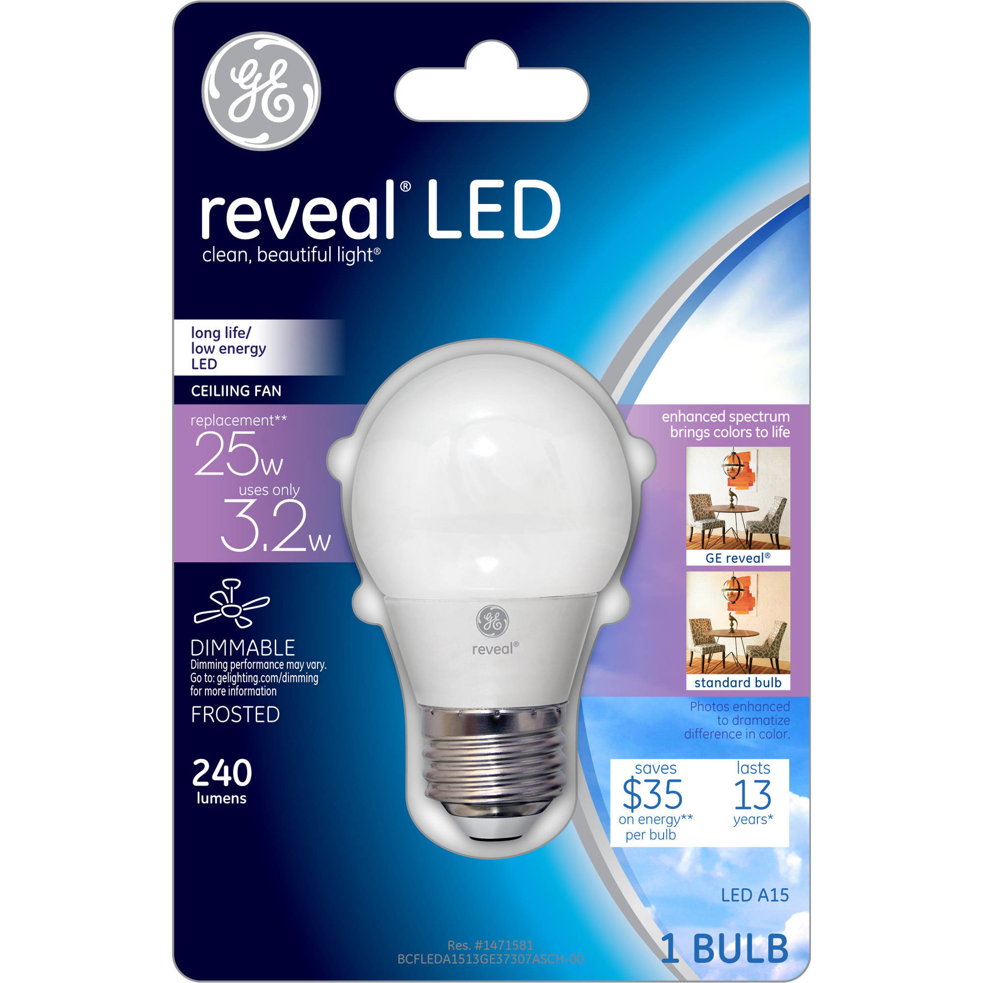 ge reveal 40w equivalent uses 32w frost a15 ceiling fan led bulb