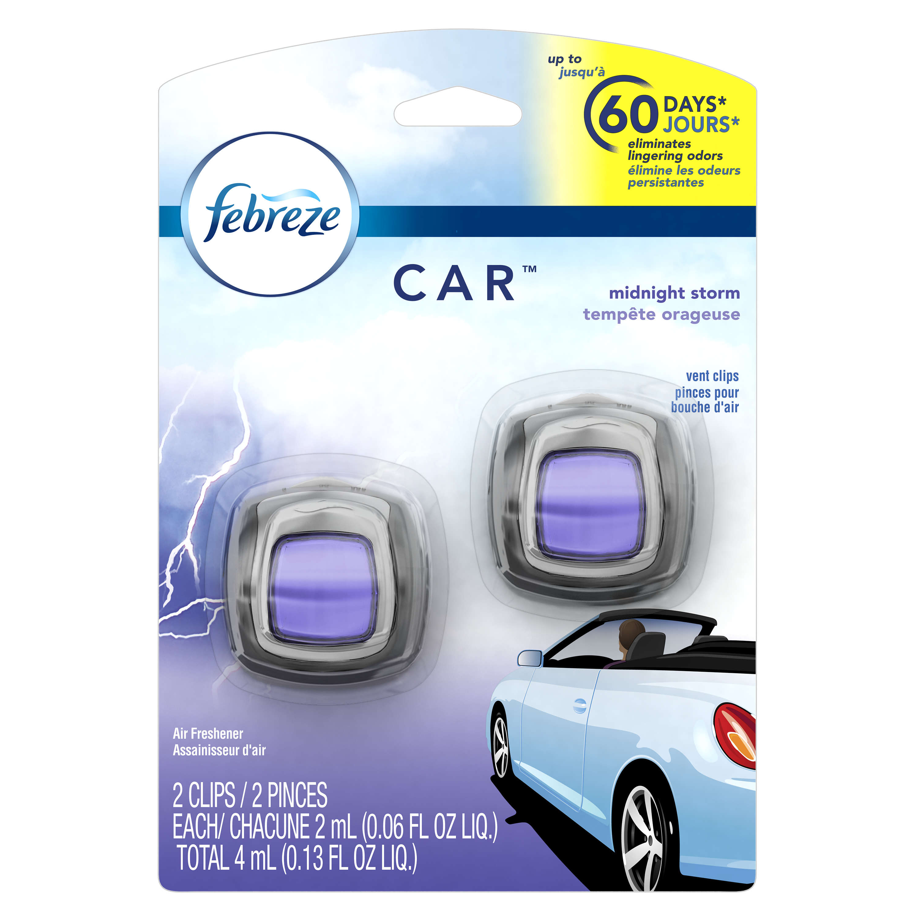 Febreze Car Air Freshener, Midnight Storm, 2 Clips