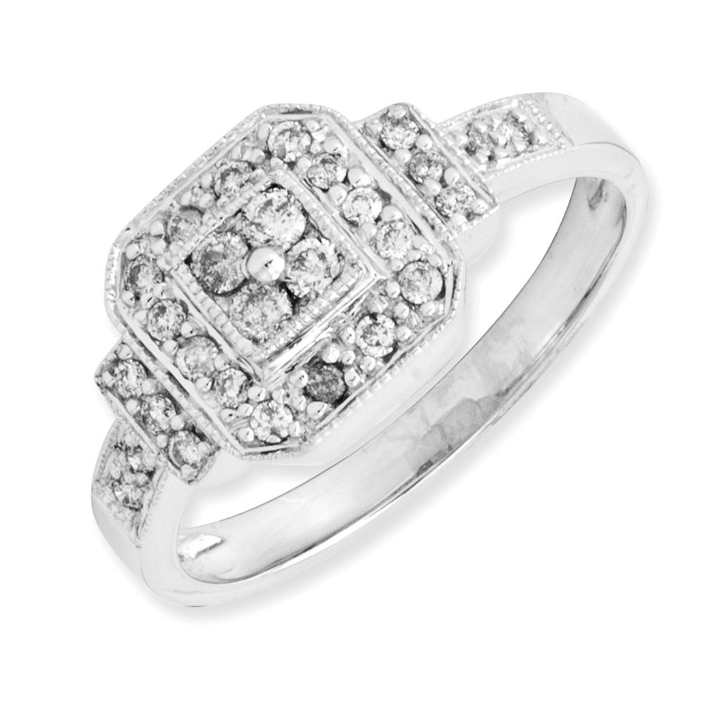 14k White Gold Square Design Diamond Ring. Carat Wt- 0.25ct