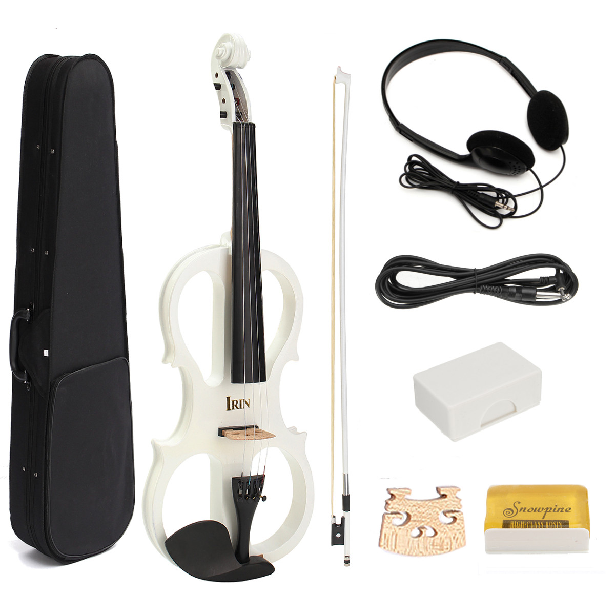 4/4 Maple Electric Violin Fiddle Full Size String Instruments With Ebony Fittings Cable Headphone Case