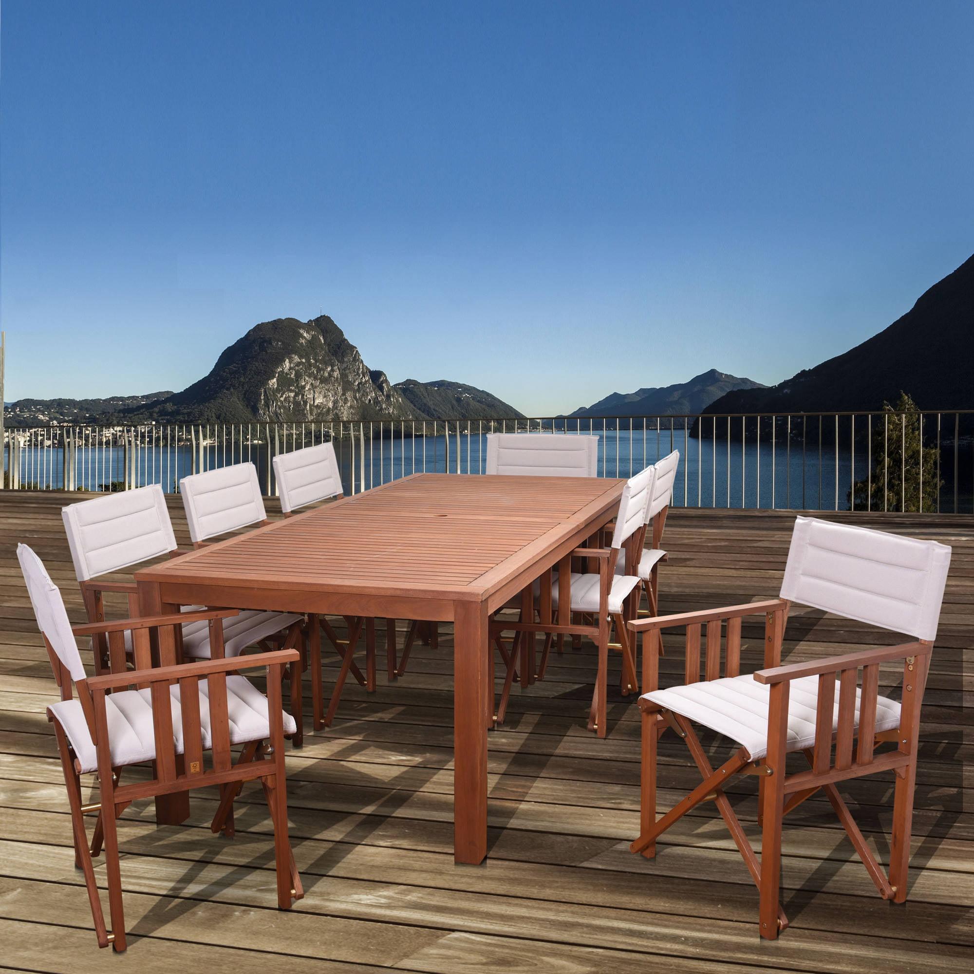 Amazonia Eucalyptus Wood Dining Set with 8 Taos Director Chairs, Khaki