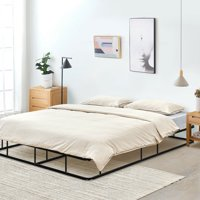 """Gymax 9"""" Queen Size Bed Frame Low Profile Steel Slat Mattress Home"""