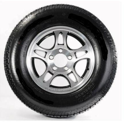 - 2-Pack Radial Trailer Tire On Rim ST205/75R15 Load C 5 Lug Aluminum T03 Black