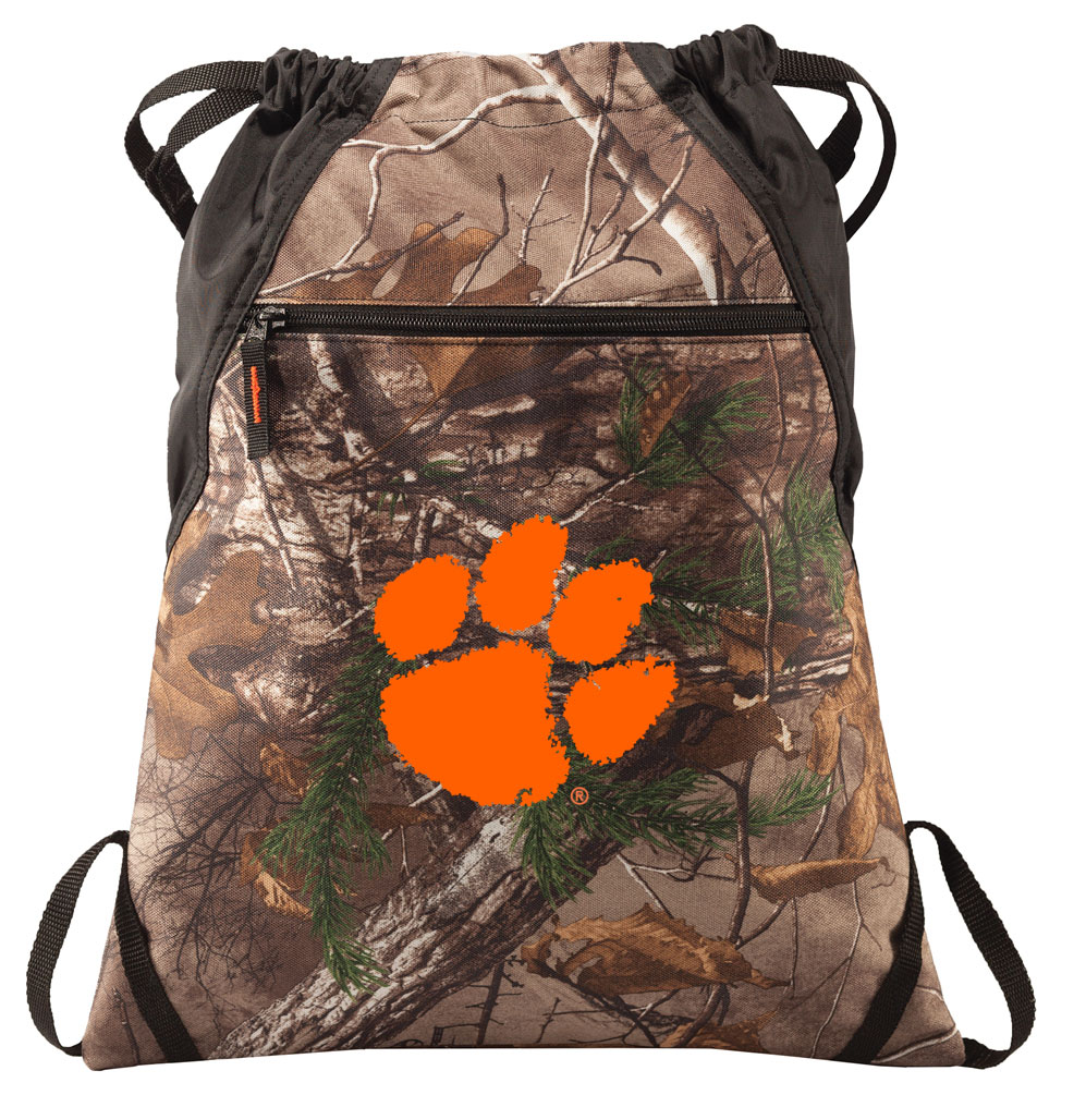 RealTree Camo Clemson Cinch Pack Bag Clemson University Camo Drawstring Backpack