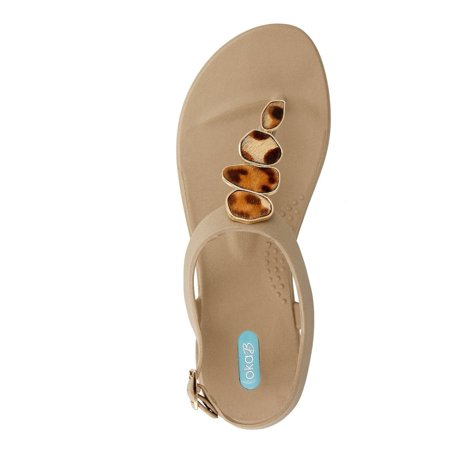0900bd13f516 OkaB - Nova Flip Flop Sandal Shoes with Ankle Strap by OkaB Color Chai -  Walmart.com