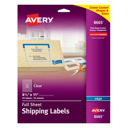 Avery Full Sheet Shipping Labels, Permanent Adhesive, Matte Frosted Clear, 8-1/2