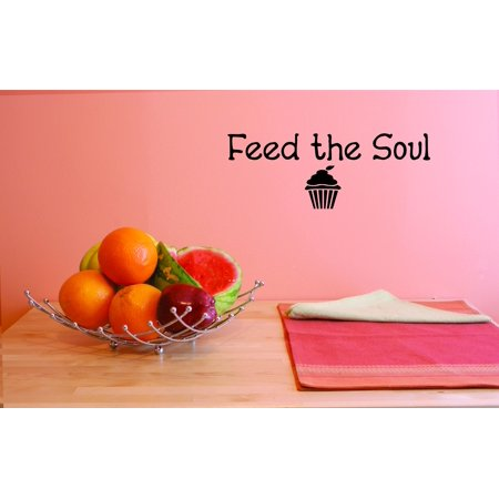 Custom Wall Decal Feed the soul Cupcake Kitchen Picture Art Sticker Decor Vinyl Wall Decal 12x30 Inches
