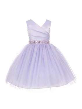 179b915af6b Product Image Girls Lilac Satin Pleated Rhinestone Tulle Junior Bridesmaid  Dress 8-14