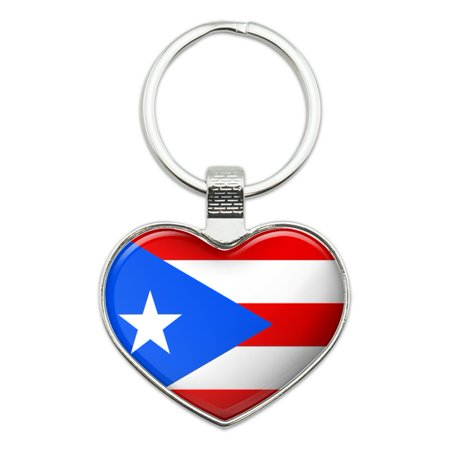 Puerto Rico Country Flag Heart Love Metal Keychain Key Chain Ring