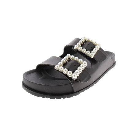 Steve Madden Womens Nora Faux Leather Pearl Slide Sandals