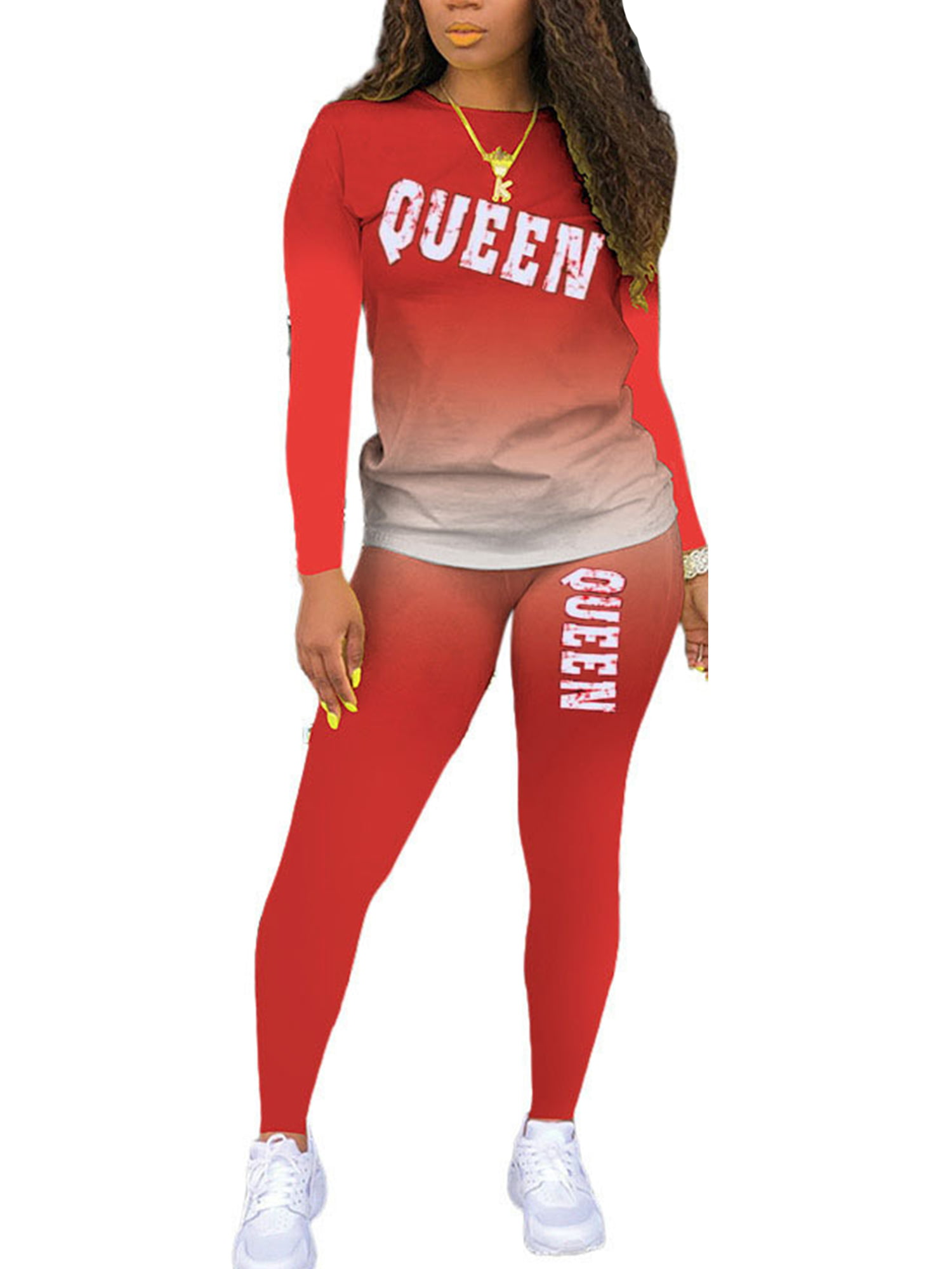 Pink Queen Women 2 Piece Tie Dye Sweatsuit Set Long Sleeve Pullover and Short Joggers Pants Sets