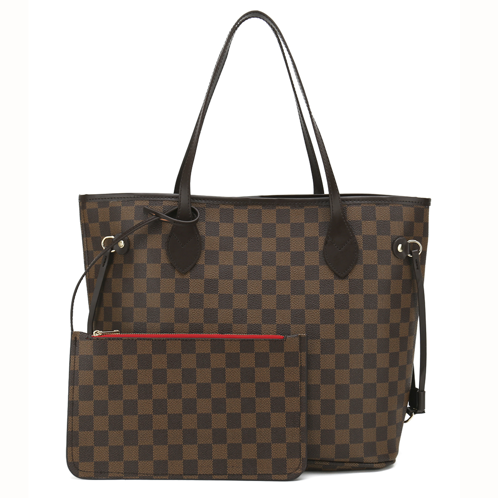 Polyurethane Leather Checked Tote Bag with External Zipper