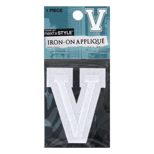 "Next Style Single Embroidery Letter, ""V"", White"