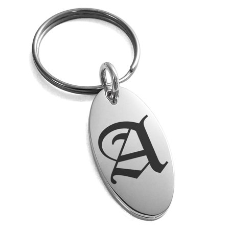 Stainless Steel Letter A Initial Old English Monogram Engraved Small Oval Charm Keychain Keyring ()