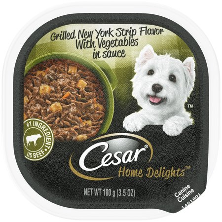 CESAR HOME DELIGHTS Wet Dog Food Grilled New York Strip Flavor With Vegetables in Sauce, 3.5 oz. Tray