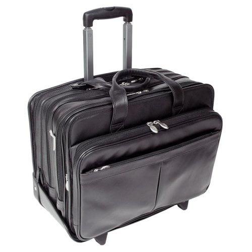 "McKlein USA Roosevelt Leather Detachable Wheeled 17"" Laptop Case"