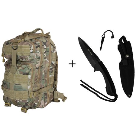 Ultimate Arms Gear 8  Fixed Blade Knife With Fire Starter Survival Survivor Outdoor Hunting Camping Fishing   Taccam Camouflage Compact Molle Pack Backpack