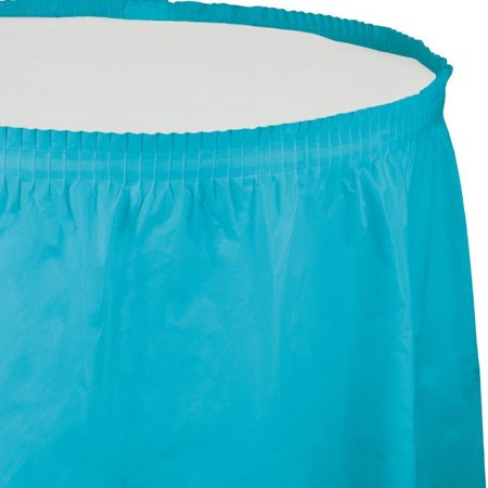 Touch of Color Plastic Tableskirt, 14 Ft, Bermuda Blue, 1 Ct