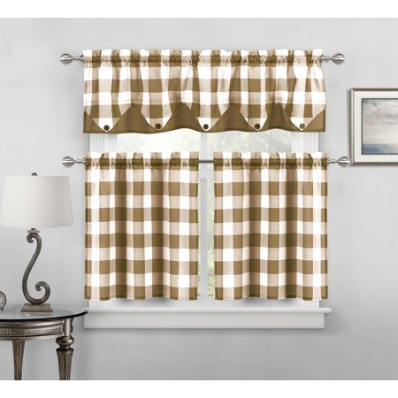Sheer Small Taupe and White Three Piece Kitchen/Cafe Tier Window Curtain Set Gingham Check Pattern, 1 Valance, 2 Tiers 24inch L ()