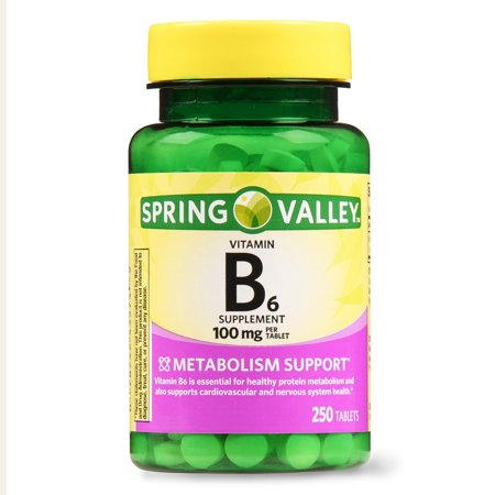 (2 Pack) Spring Valley Vitamin B6 Tablets, 100 mg, 250 Ct (Spring Valley B Vitamin)