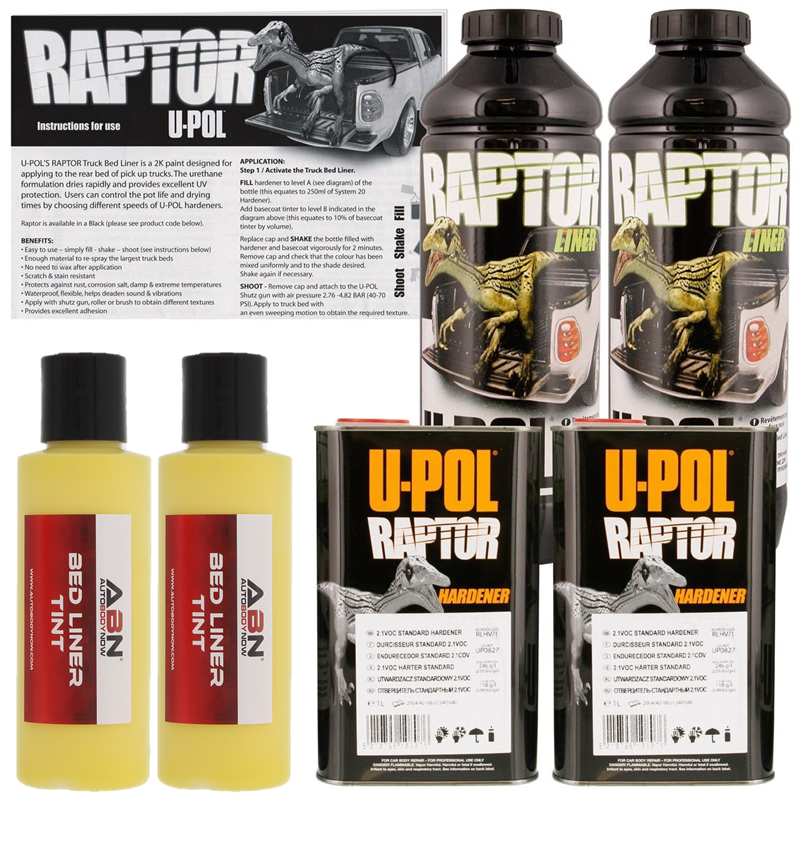 U-POL Raptor Tintable Safety Yellow Bed Liner & Texture Coating, 2 Liters Upol