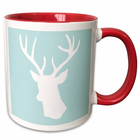 3dRose White deer head silhouette on mint blue - stag antlers - stylish modern pastel turquoise teal aqua - Two Tone Red Mug, 11-ounce (Blue Pastel)